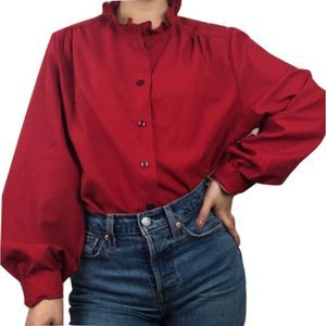 VTG High-Collared Ruffled Red Button-Down Blouse